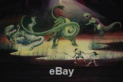 T-Rex Brontosaurus Dinosaur Battle Conan Bob Dara Murtagh ORIGINAL ART PAINTING