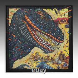 T. Rex John A Kurtz Painting Acrylic Canvas Framed Pschedelic Dinosaur 1986