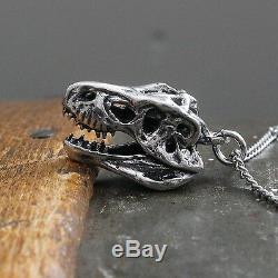 T-Rex Skull Necklace in Solid Sterling Silver Tyrannosaurus Rex Dinosaur 080