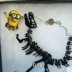 Tatty Devine minions dinosaur t-rex skeleton laser cut acrylic necklace boxed