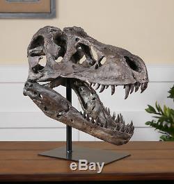 Tyrannosaurus Rex Head Sculpture Dinosaur Décor T-Rex Fossil Skull Organic Shape