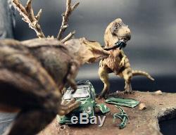 Tyrannosaurus T Rex Fight Car Scene Dinosaur Model Figure Collector Decor Gift