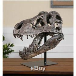 Tyrannosaurus T-Rex Skull Sculpture Dinosaur Bone Head Figure On Stand Display