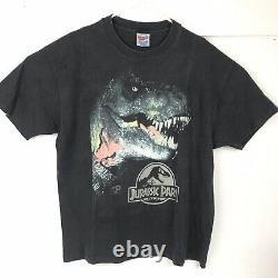VTG 90s Jurassic Park Tyrannosaurus Rex T-Rex Black Fade Shirt 1993 XL 22.5 x 30
