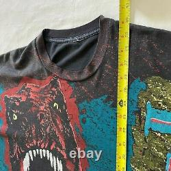 VTG Mens Jurassic Park Dinosaur T Rex All Over Print Shirt Size XL Movie Promo