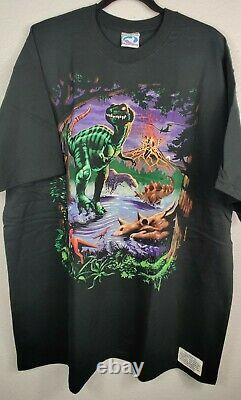 Vintage 1997 Liquid Blue Graphic Jurassic T-Rex Dinosaur Men's Cotton Shirt 2XL