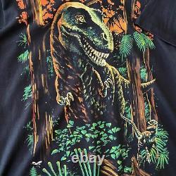 Vintage 1997 Liquid Blue T-Rex Raptor Dinosaur Tee