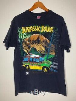 Vintage Jurassic Park Shirt Mens Sz L Black SS Crash McCreery T-Rex Print 1993