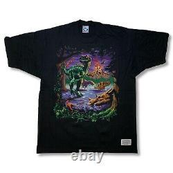 Vintage Liquid Blue Dinosaur T-Rex Jurassic T-Shirt Mens XL Black Single Stitch