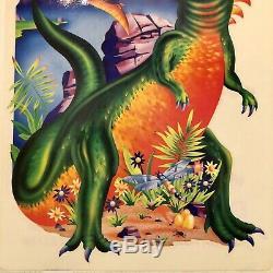 Vtg 80s Jumbo Lisa Frank Dinosaur Tyrannosaurus T Rex Rainbow Sticker HTF