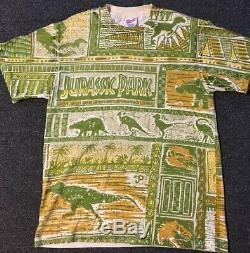 Vtg 90s 1993 Jurassic Park Promo All Over Print Shirt L T-REX JP Single Stitch