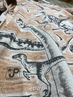 Vtg Jurassic Park All Over Print Mega 1993 XL Dinosaur T Rex Raptor Movie